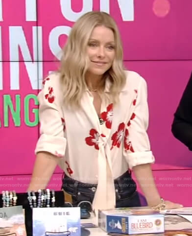 Kelly's white floral tie neck blouse and jeans on Live with Kelly and Ryan