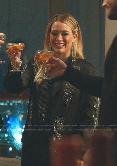 Kelsey's black embellished shirt on Younger