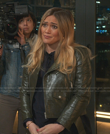 Kelsey's green leather moto jacket on Younger