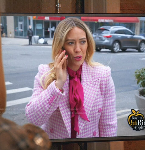 Kelsey's pink tie neck blouse and houndstooth coat on Younger