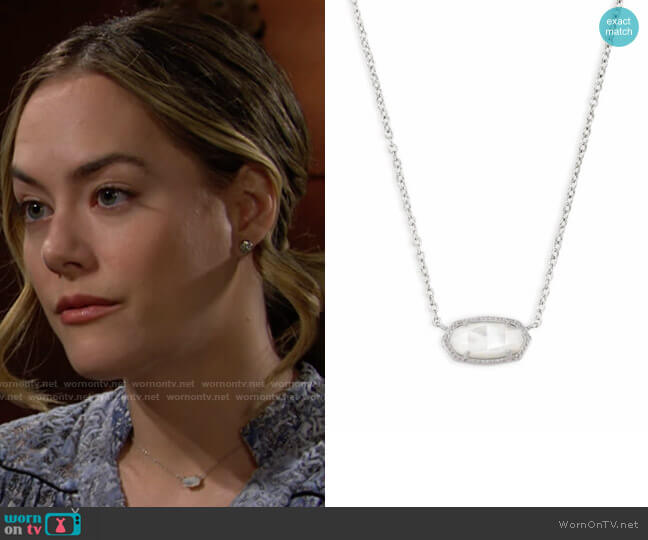 Kendra Scott Elisa Necklace in Ivory Mother of Pearl worn by Hope Logan (Annika Noelle) on The Bold & the Beautiful