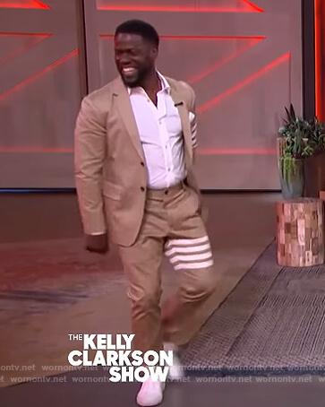 Kevin Hart's khaki stripe blazer and pants on The Kelly Clarkson Show