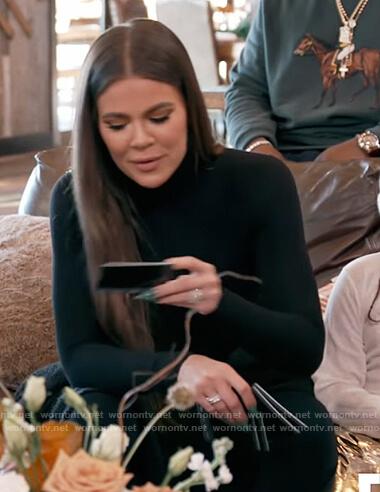 Khloe's black turtleneck bodysuit on Keeping Up with the Kardashians