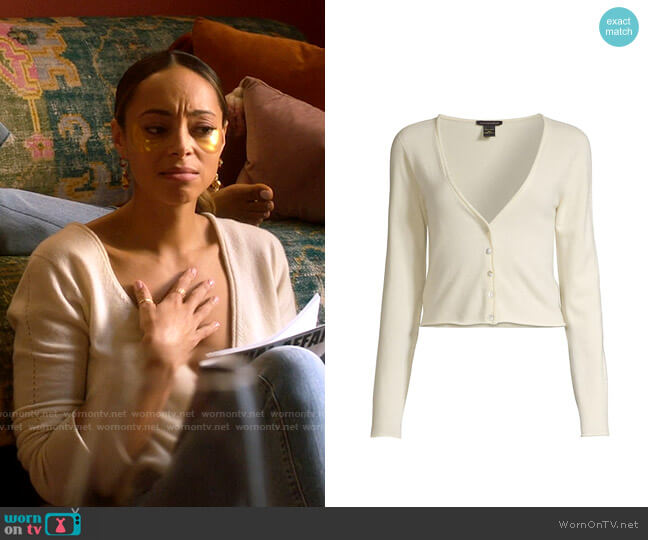 Kiki de Montparnasse Cashmere Button-Up Cropped Cardigan worn by Whitney Green (Amber Stevens West) on Run the World