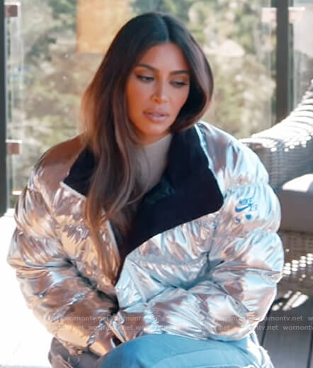 Kim's metallic puffer jacket and top on Keeping Up with the Kardashians