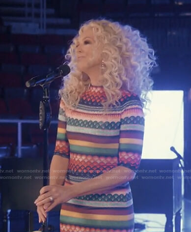 Kimberly Schlapman's multicolor printed dress on Today