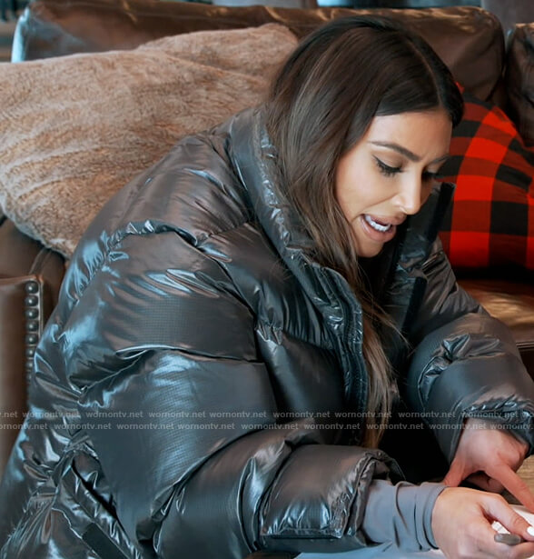 Kim's black oversized puffer jacket on Keeping Up with the Kardashians