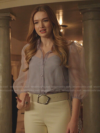 Kirby's lilac sheer blouse on Dynasty
