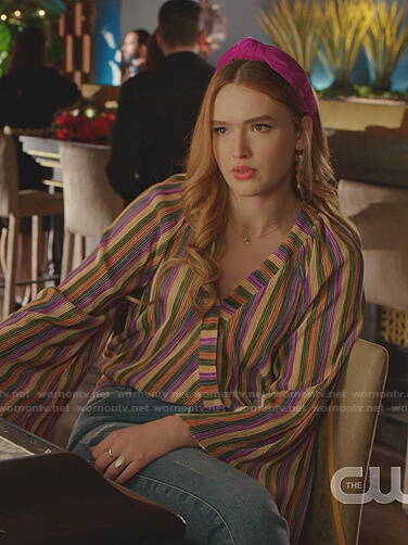 Kirby's multicolor striped wrap blouse on Dynasty