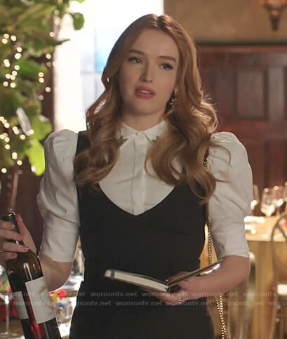 Kirby's white puff sleeve blouse on Dynasty