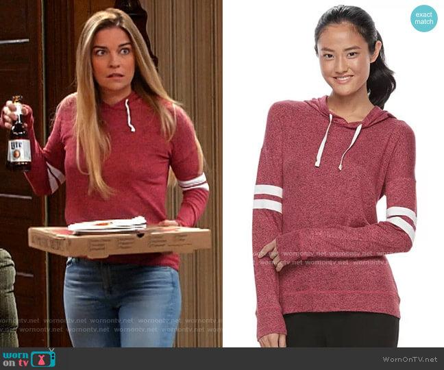 Kohls SO Striped Sleeve Hoodie worn by Allison (Annie Murphy) on Kevin Can F**k Himself
