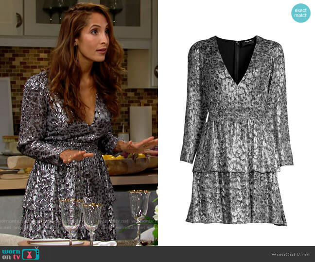 The Kooples Sequin Animal-Print Mini Dress worn by Lily Winters (Christel Khalil) on The Young & the Restless