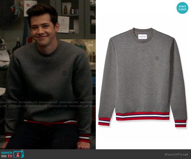 The Kooples Neoprene Sweatshirt with Contrasting Ribbed Detail worn by EJ (Matt Cornett) on High School Musical The Musical The Series
