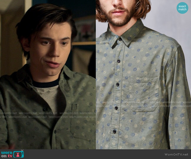 Koto Exploding Dots Linen Button-Down Shirt worn by Felix Weston (Anthony Turpel) on Love Victor