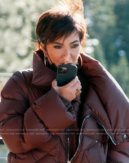 Kris's brown puffer jacket on Keeping Up with the Kardashians