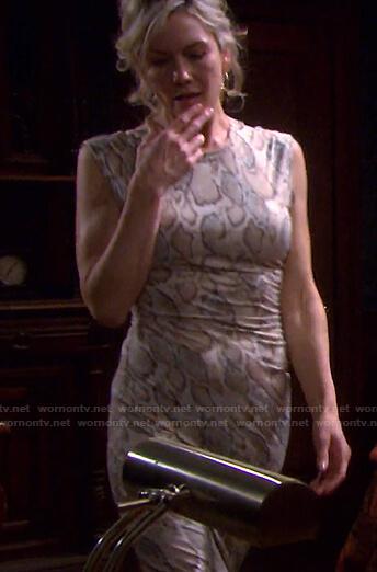 Kristen's snake print sleeveless dress on Days of our Lives
