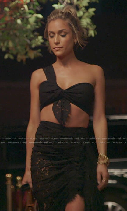 Kristin's black twisted crop top and skirt set on The Hills New Beginnings