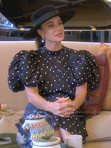Kyle's black polka dot puff sleeve dress on The Real Housewives of Beverly Hills