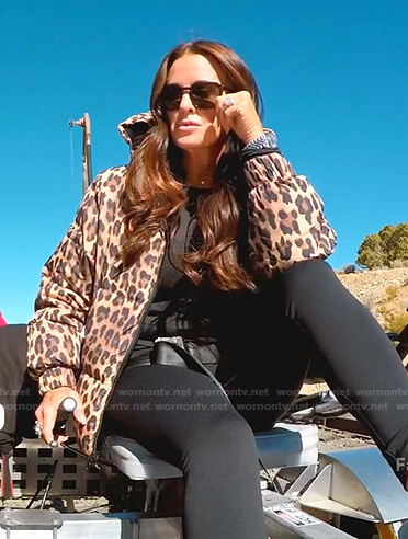Kyle's leopard hooded puffer jacket on The Real Housewives of Beverly Hills