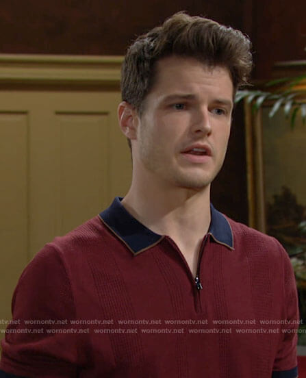 Kyle's red zip polo on The Young and the Restless
