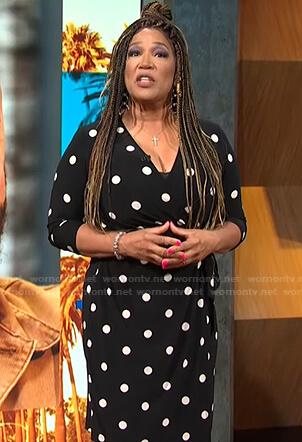 Kym's black polka dot wrap dress on E! News Daily Pop