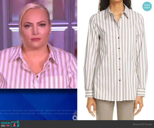 Ruxton Stripe Cotton Blend Shirt by Lafayette 148 worn by Meghan McCain  on The View