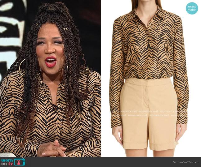 Scottie Zebra Print Silk Blouse by Lafayette 148 worn by Kym Whitley  on E! News