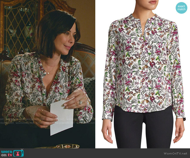 Bardot Floral Silk Blouse by L'Agence worn by Cassandra Nightingale (Catherine Bell) on Good Witch