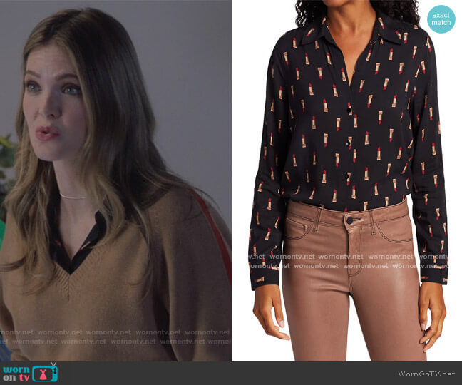 Holly Lipstick Print Blouse by L'Agence worn by Sutton (Meghann Fahy) on The Bold Type