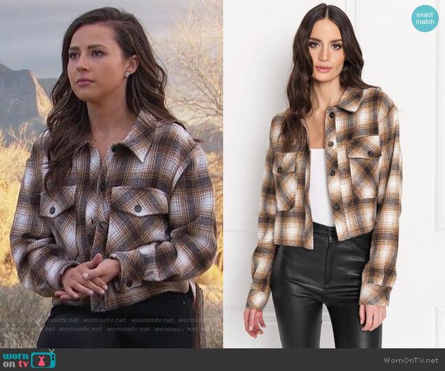 MONIQUE Tan Cropped Plaid Shirt Jacket by Lamarque worn by Katie Thurston  on The Bachelorette