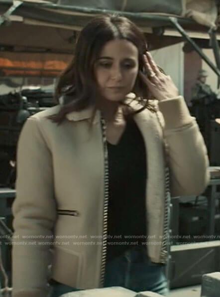 Lana's beige bomber jacket with fleece collar on Superman and Lois