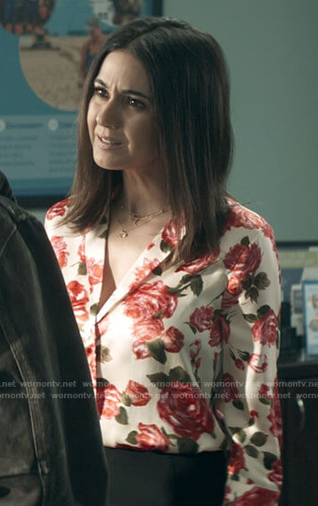 Lana's rose print blouse on Superman and Lois