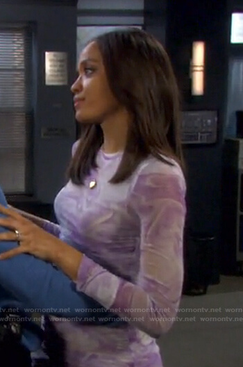 Lani's lilac and white marble sheer dress on Days of our Lives