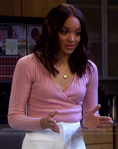 Lani's pink ribbed wrap sweater on Days of our Lives