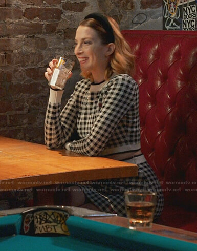 Lauren's gingham cropped sweater and skirt on Younger