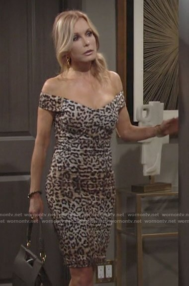 Lauren's leopard print off-shoulder dress on The Young and the Restless