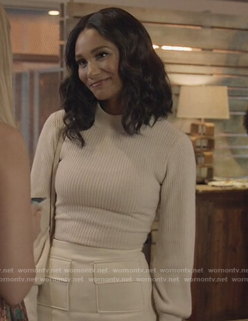 Layla's white open back sweater on All American