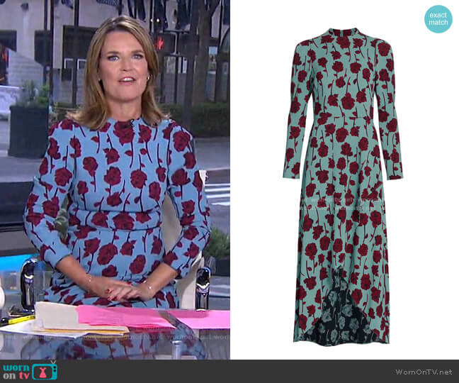Double Face Rose Printed Crepe Long Sleeve Midi Dress by Lela Rose worn by Savannah Guthrie  on Today