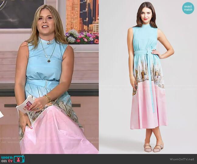 New York City Printed Poplin Belted High Neck Dress by Lela Rose worn by Jenna Bush Hager  on Today