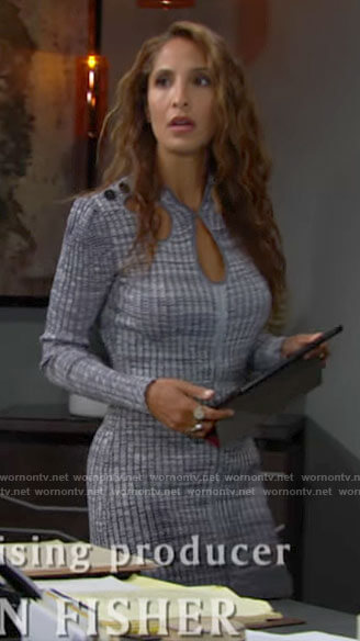 Lily's blue marled mini dress with cutouts on The Young and the Restless