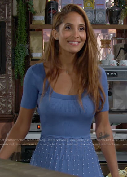 Lily's blue short sleeve fit and flare dress on The Young and the Restless