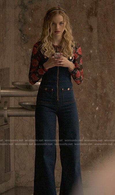 Miss Jenn's red bandana print blouse and denim blazer on High School Musical The Musical The Series