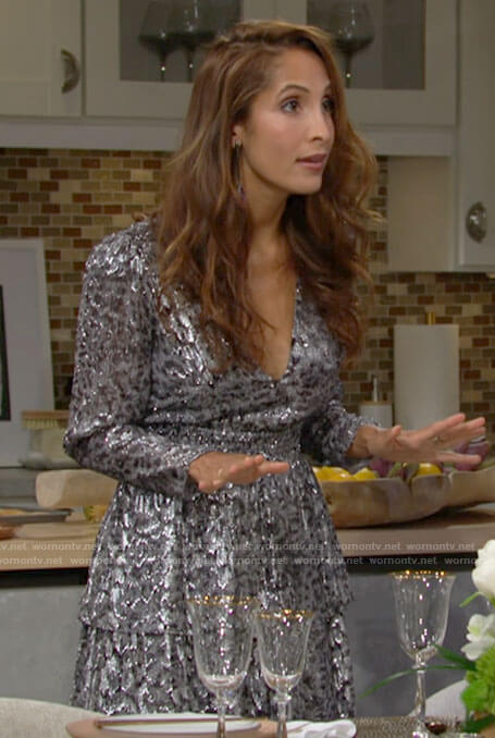 Lily's silver leopard sequin dress on The Young and the Restless