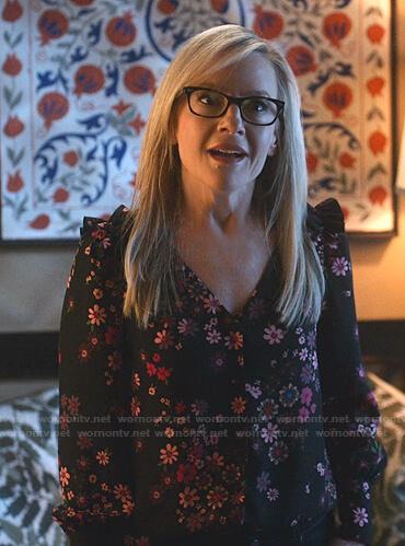 Linda's black floral print blouse on Lucifer