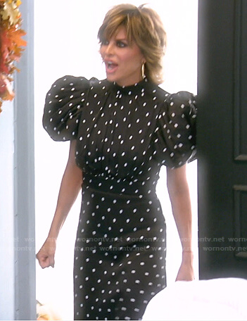 Lisa's black polka dot puff sleeve dress on The Real Housewives of Beverly Hills