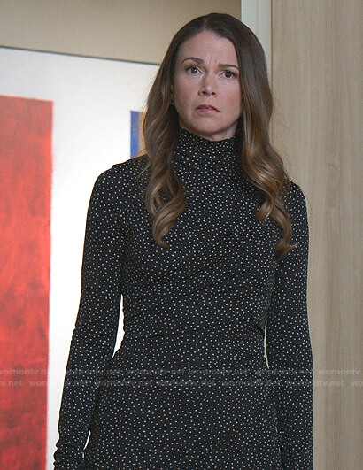 Liza's black dotted turtleneck dress on Younger