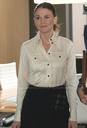 Maggie's ivory tie neck satin blouse on Younger