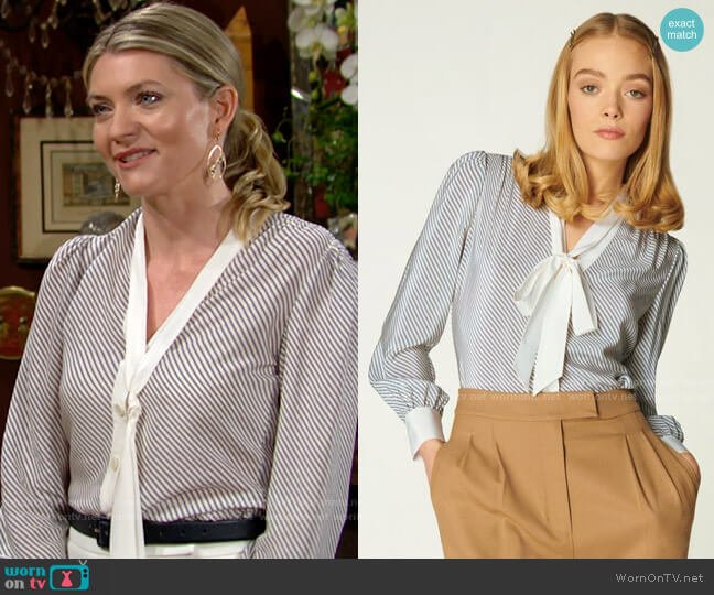 LK Bennett Georgia Diagonal Stripe Silk Blouse worn by Tara Locke (Elizabeth Leiner) on The Young & the Restless