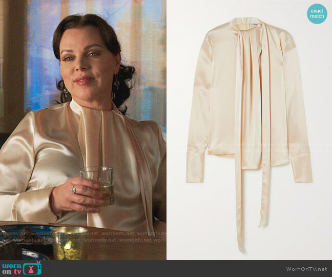 Lavalliere Tie-Detailed Hammered-Satin Blouse by Loewe worn by Maggie (Debi Mazar) on Younger