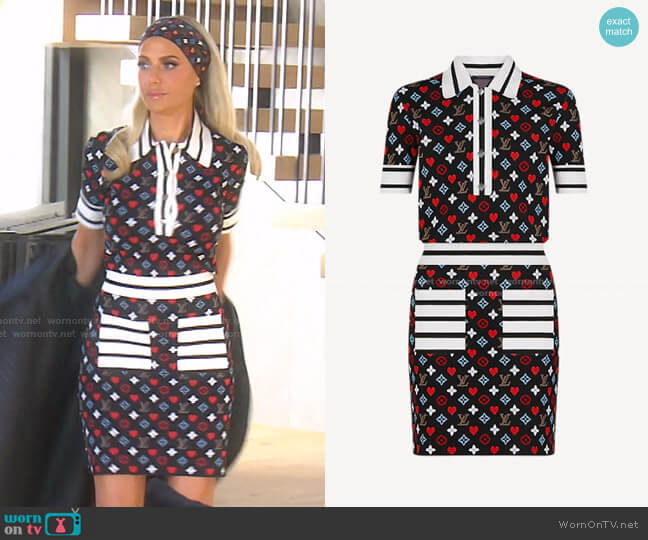 Game On Trompe L'oeil Jacquard Knit Polo Dress by Louis Vuitton worn by Dorit Kemsley  on The Real Housewives of Beverly Hills